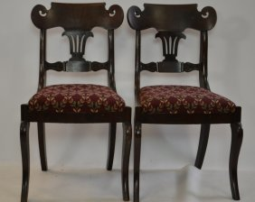 Pair Of 19th C Classical Mahogany Side Chairs