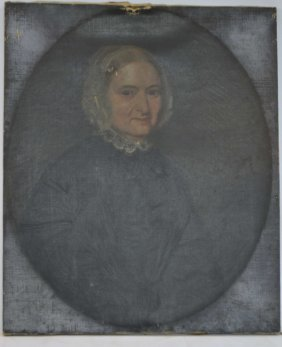 Early 19th Century Portrait Of Woman On Canvas