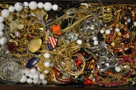 Large Grouping Of Vintage Costume Jewelry