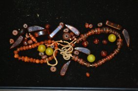 Grouping Of Amber & Other Beads