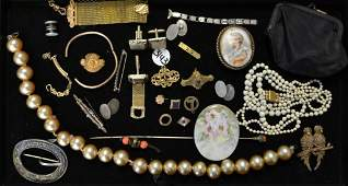 Tray of Early 19th C Jewelry