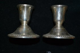 Pair Of Weighted Sterling Silver Candle Sticks
