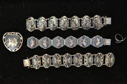 Collection of Vintage Siam Silver Bracelets, Pin