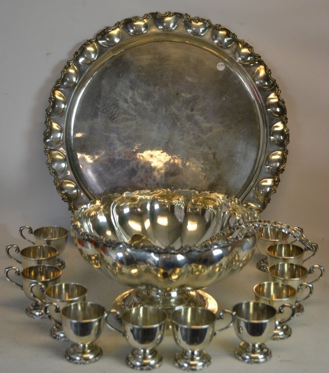 Solid Sterling Silver Punch Bowl, Tray & Ladle Set
