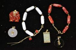 Grouping of Jade Pieces w/ 14kt Yellow Gold Clasps
