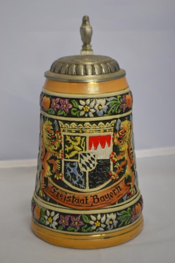 West German 1 Liter Beer Stein w/ Bavarian Coat