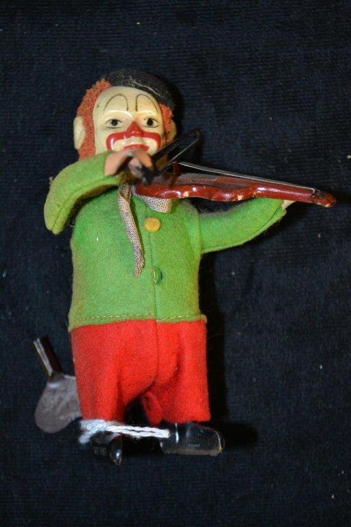 Schuco Key Wind Clown Playing Violin
