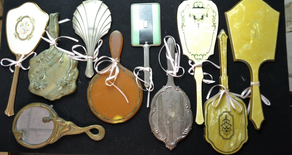 Collection Of  Ten Vintage Hand Mirrors