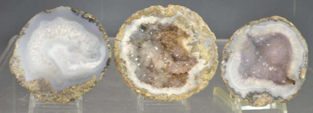 Three Polished Agate Geode Sections