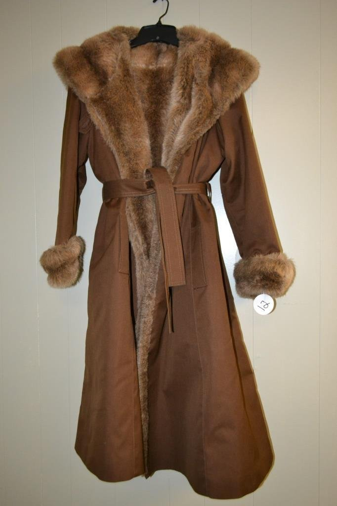 Faux Brown Beaver Coat size Large