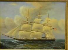20th C Oil Canvas US Sailing Ship unknown artist