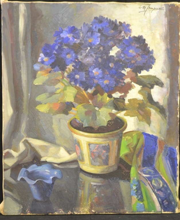 Early 20thC Oil on Canvas Still Life of Hydrangea