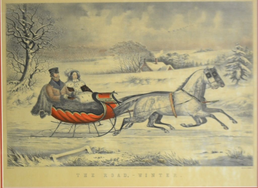 """Currier and Ives """"The Winter Road"""" Lithograph"""
