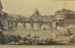Engraving Veduta Del Ponte e Castello Sant 'Angelo
