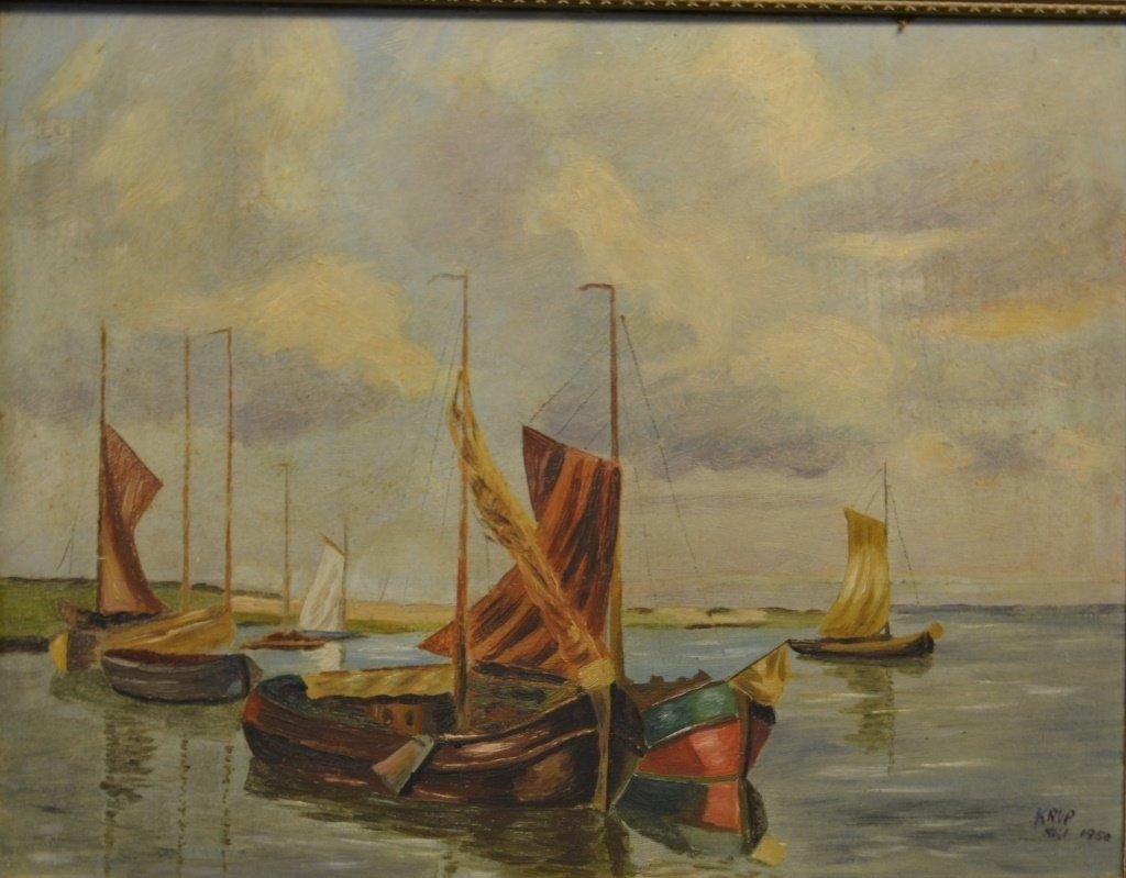 Mid 19thC Oil on Board, Harbor Scene