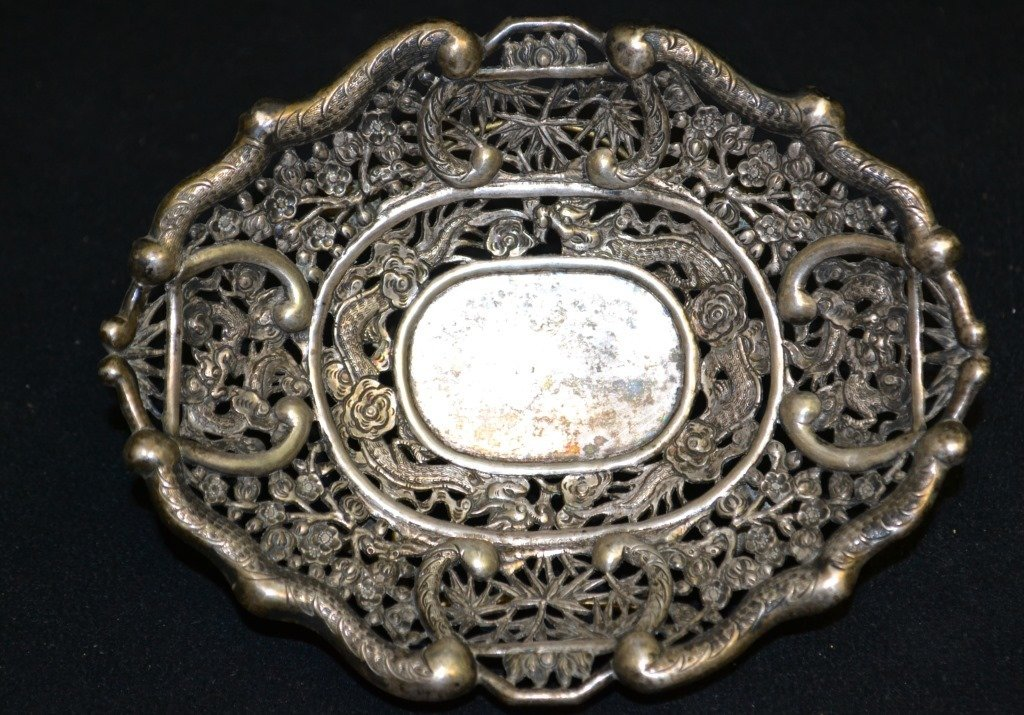 19th Century Coin Silver, Dragon Dish