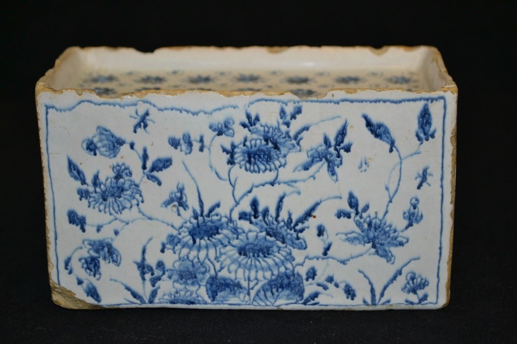English 18th Century Delft Flower Brick