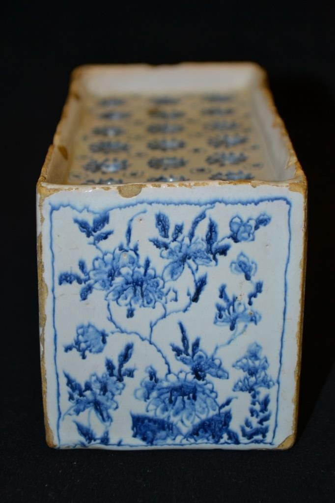 English 18th Century Delft Flower Brick - 2