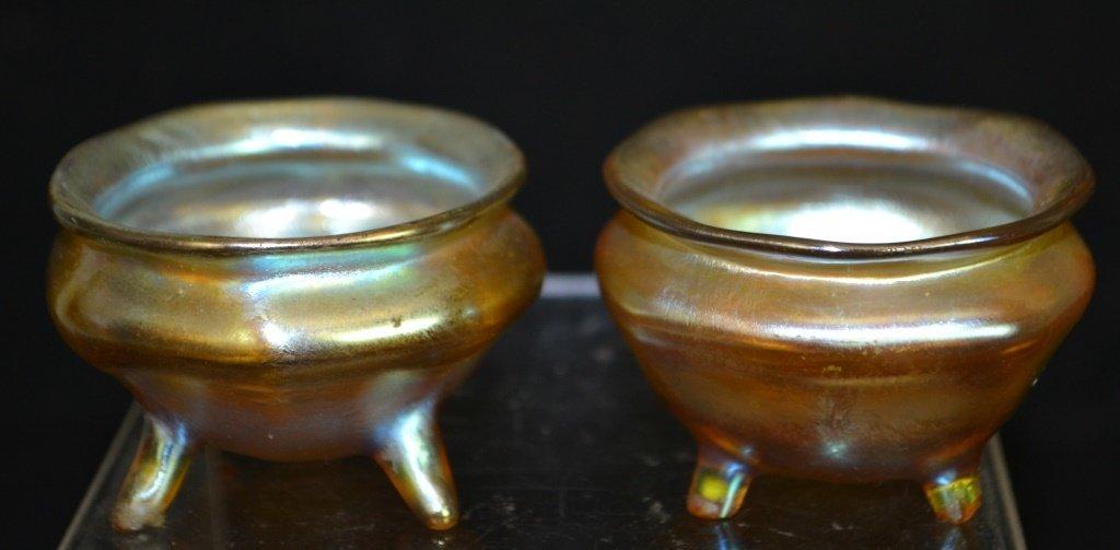 Pair of Tiffany Favrile L.C.T. Glass Salts