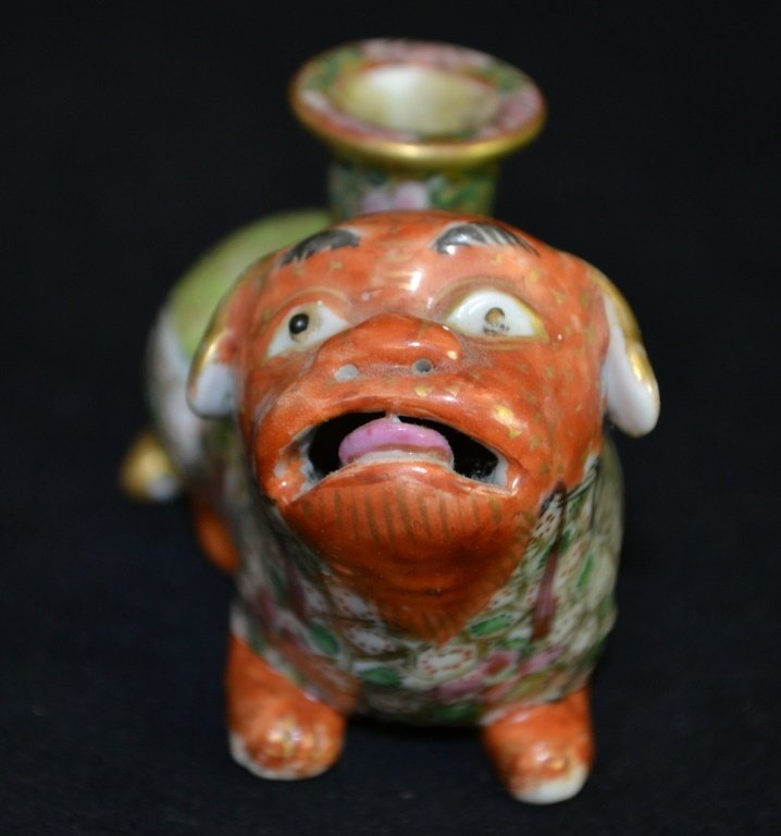 19th C Miniature Famille Verte Foo Dog Incense - 2