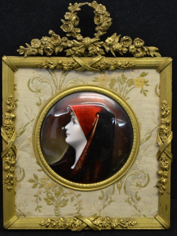 Limoges Enamel on Copper Plaque Lady in Red