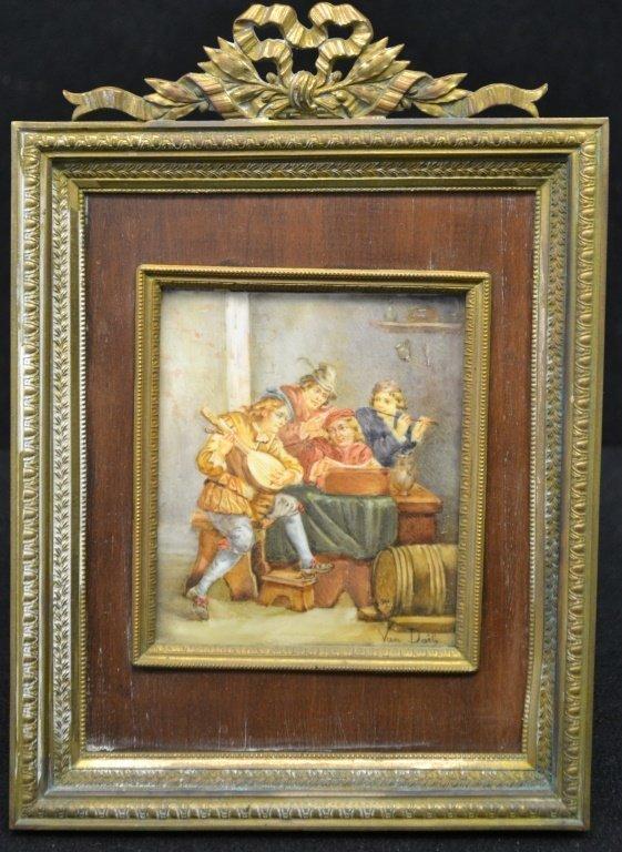 "Oil on Sheepskin Painting ""La Musique"" Under Glass"