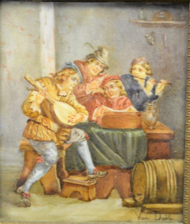 "Oil on Sheepskin Painting ""La Musique"" Under Glass - 2"