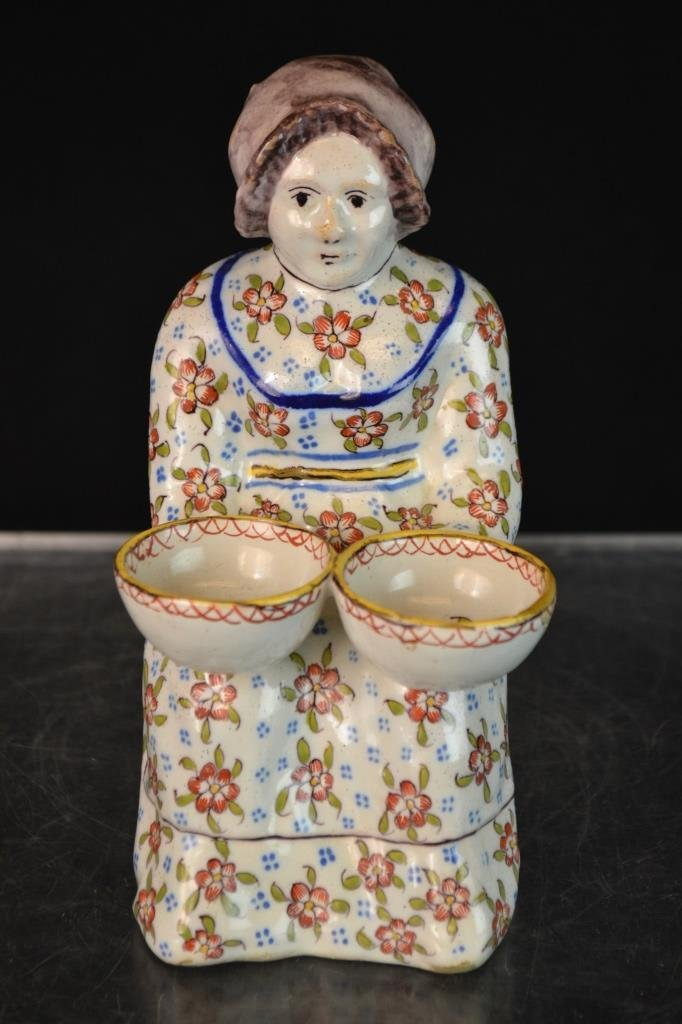 Faience Master Salt Figure Holding Two Bowls