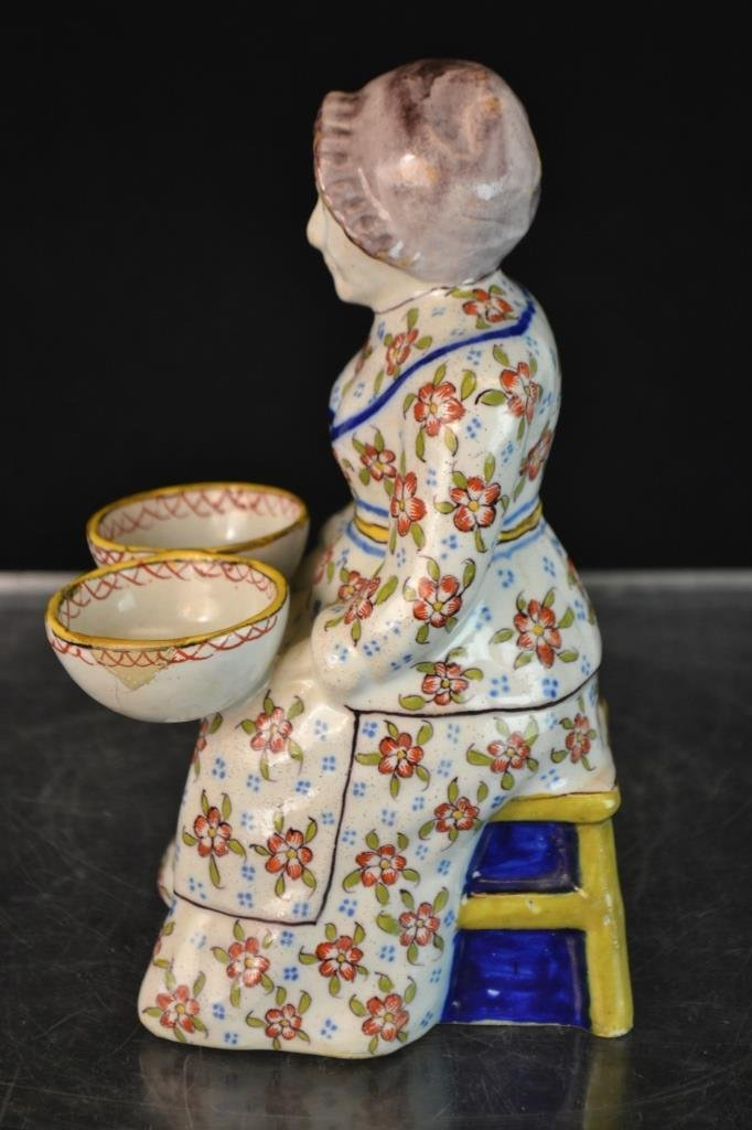 Faience Master Salt Figure Holding Two Bowls - 2