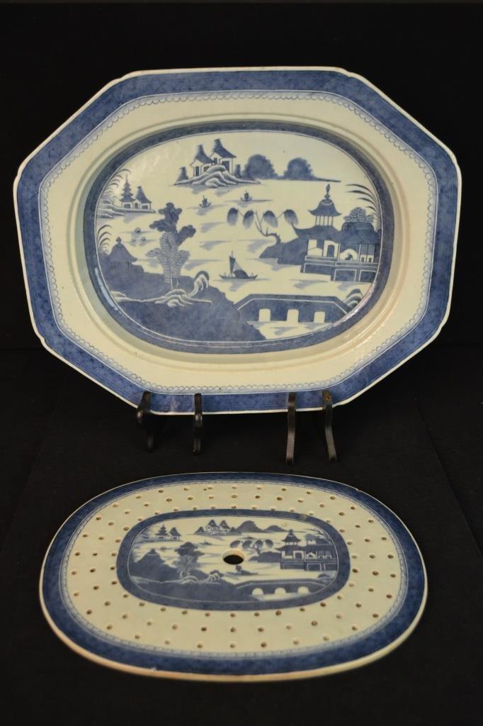 Canton Fish Platter w/ Strainer Circa 1820