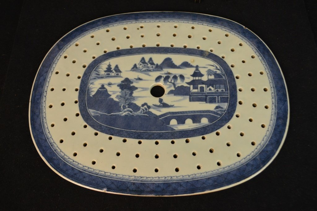 Canton Fish Platter w/ Strainer Circa 1820 - 2
