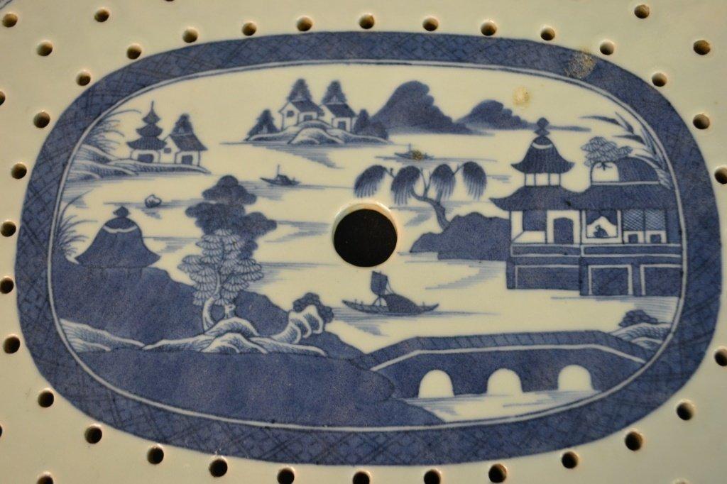 Canton Fish Platter w/ Strainer Circa 1820 - 3