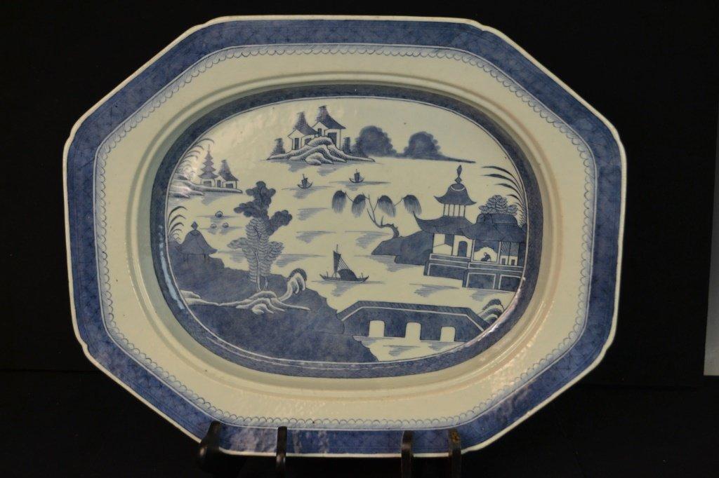 Canton Fish Platter w/ Strainer Circa 1820 - 4