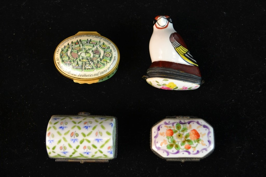 4 French and English Ceramic w/ Metal Snuff Boxes
