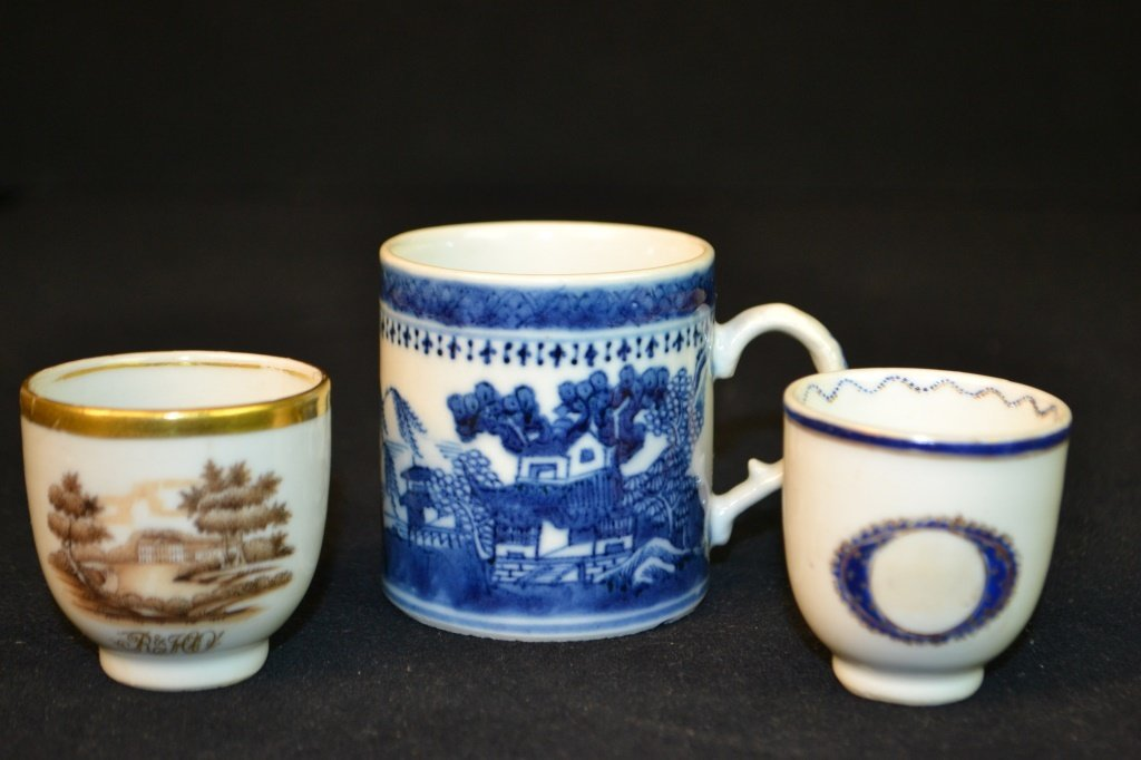 3 Chinese Ceramic Cups in Various Styles