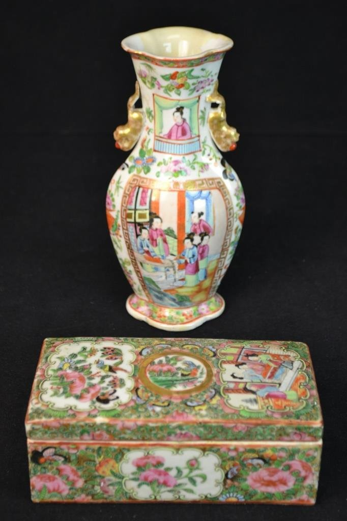 Rose Medallion Brush Box and Vase Circa 1860
