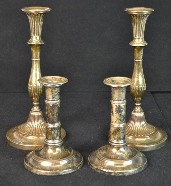 Two Pair of old Sheffield Candlesticks
