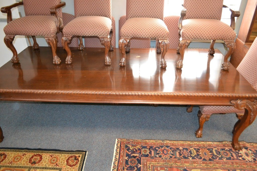 Large Scale Dining Room Table and Ten Chairs - 2