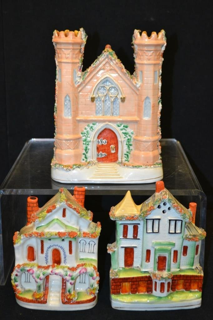 Collection of Three Mid 19thC Staffordshire Houses