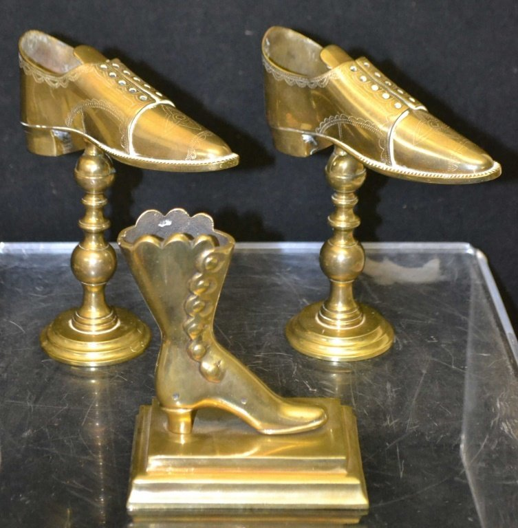 Pair of Brass Shoe Store Display & Another