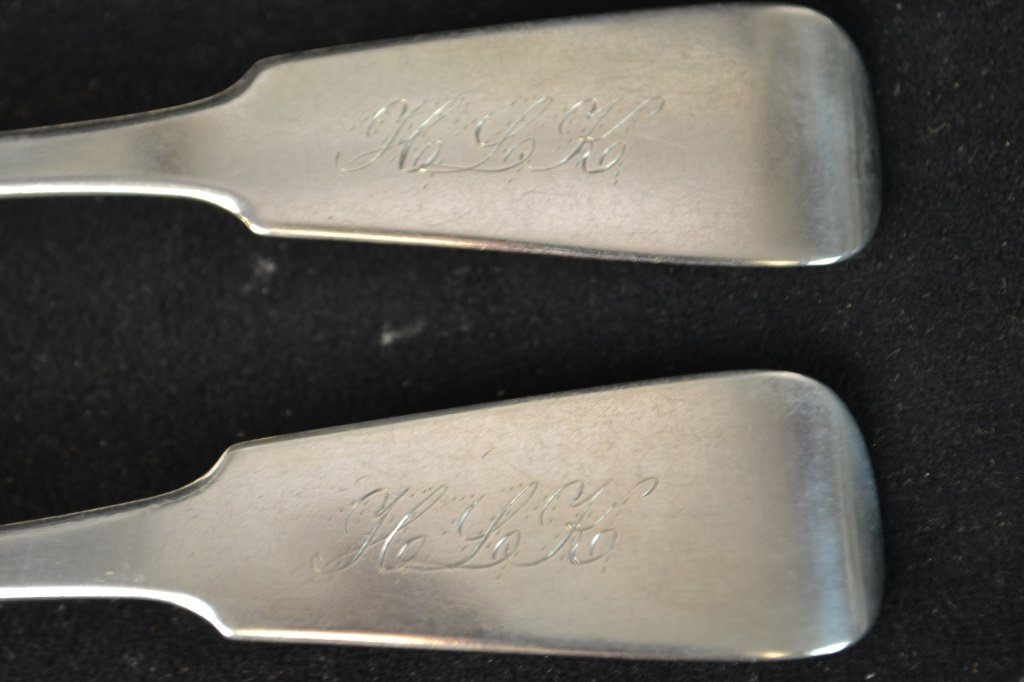 Set of 4 Coin Silver Serving Spoons, NY 1831-1850 - 2