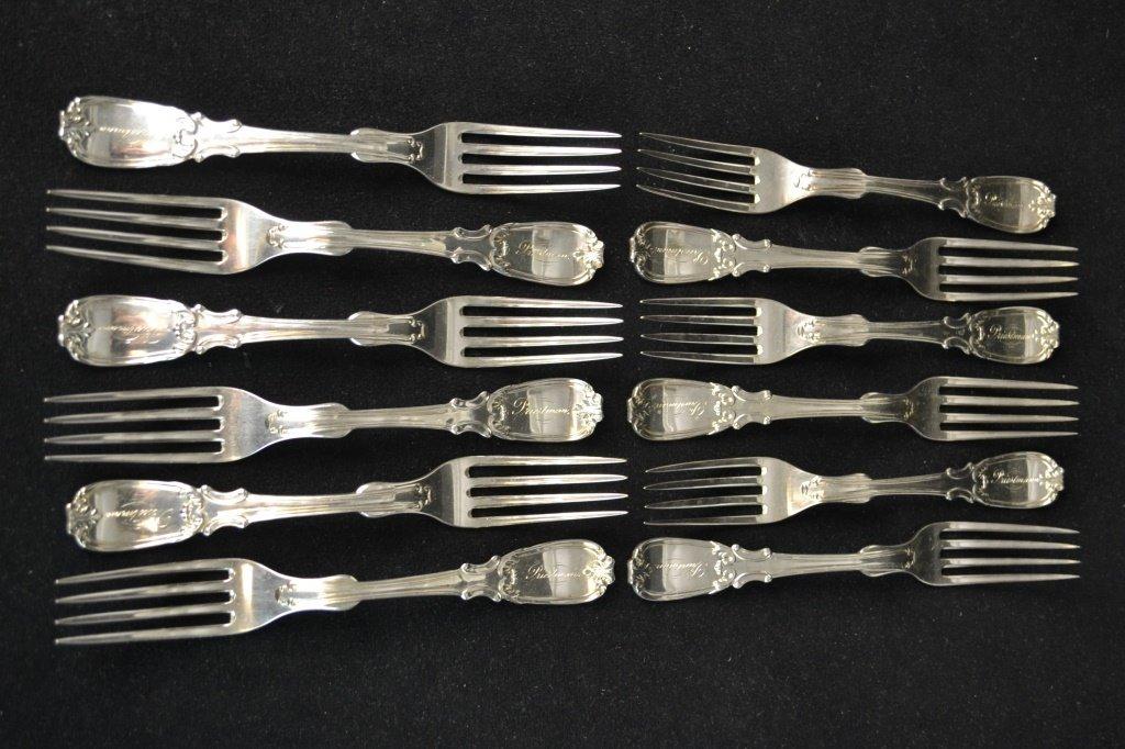 Set 12 R. W. Wilson Coin Silver Dessert Forks