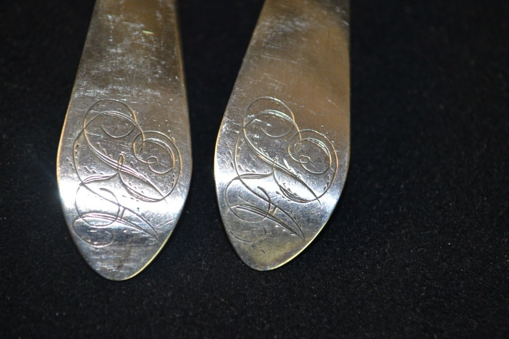 Set of 4 New York Coin Silver Serving Spoons 1805 - 2
