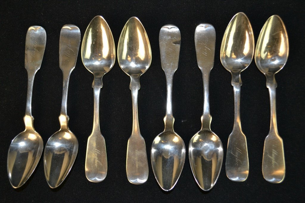 8 Coin Silver Tea Spoons, Squire & Brothers, NY
