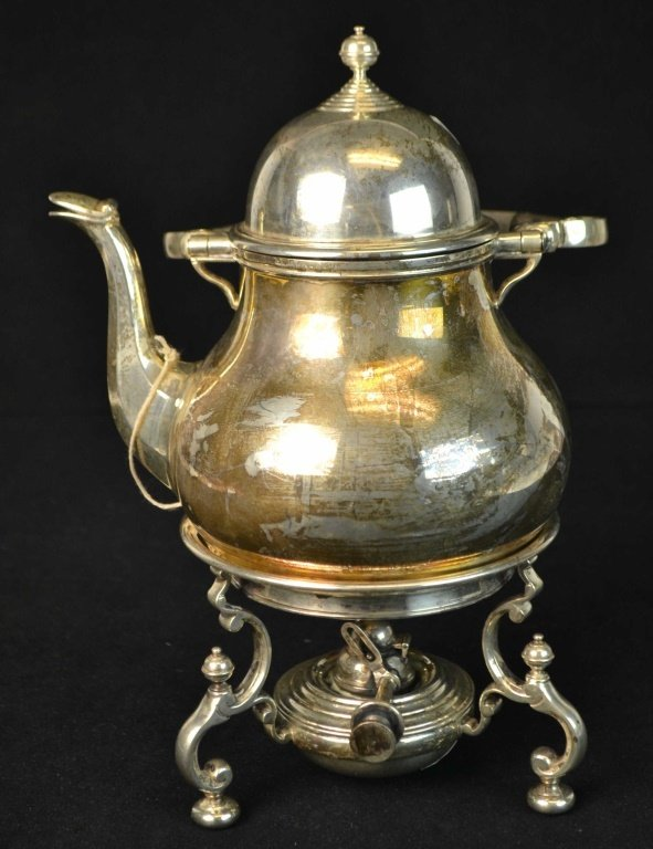 English Sterling Silver Teapot w Stand and Burner