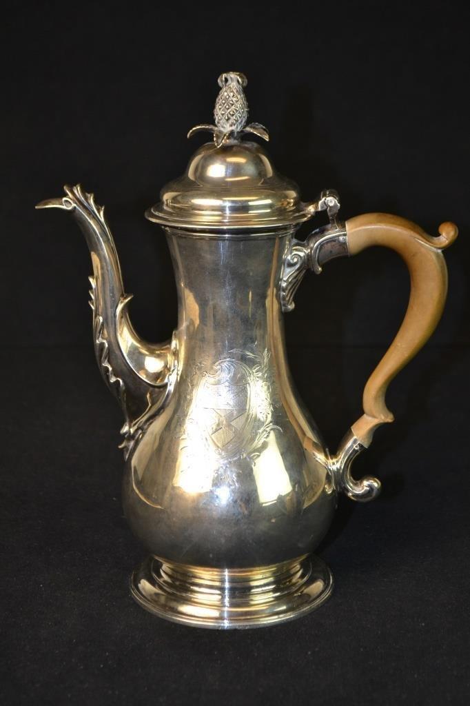 18th C Sterling Silver London Teapot 1770