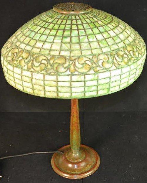 Tiffany Studios Lamp Swirling Leaf Pattern signed