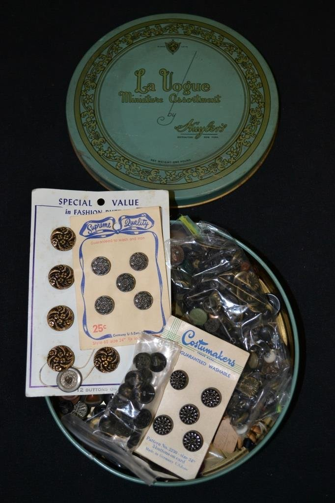 Tin Of Vintage Buttons