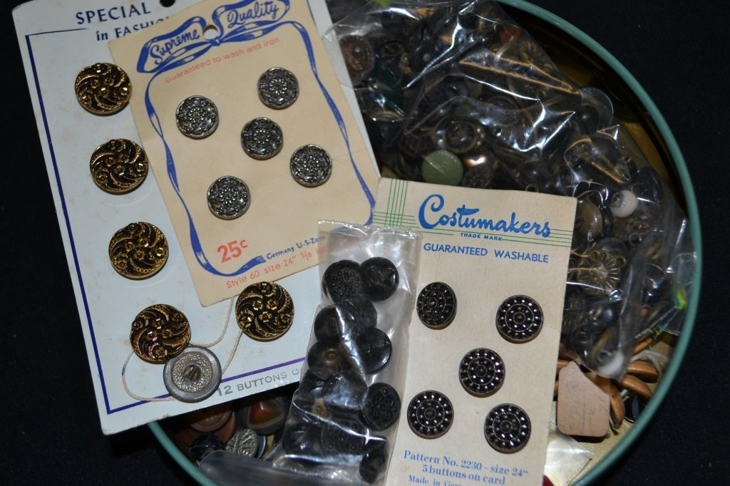 Tin Of Vintage Buttons - 2
