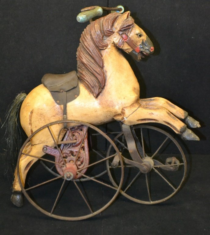 Antique Style Miniature Wooden Horse Tricycle